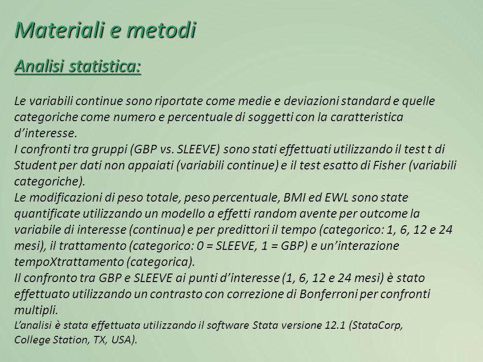 Materiali e metodi Analisi statistica: Le variabili continue sono riportate come medie e deviazioni standard e quelle categoriche come numero e percen