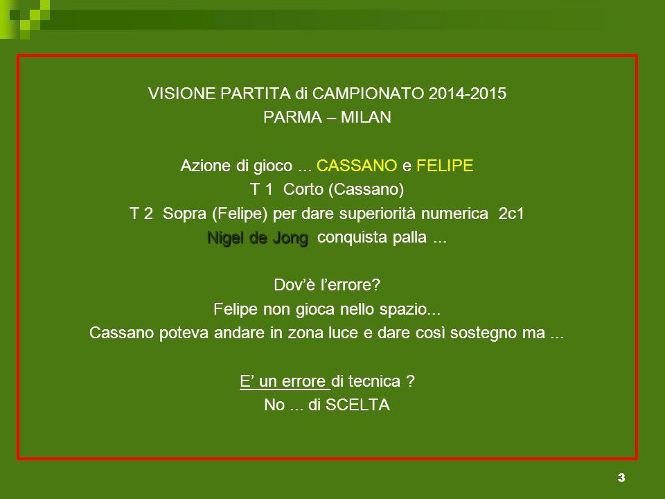 VISIONE PARTITA di CAMPIONATO 2014-2015 PARMA – MILAN Azione di gioco...