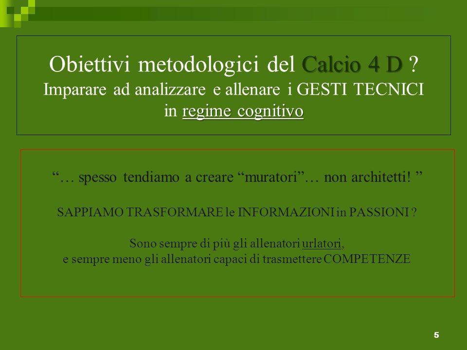 Calcio 4 D regime cognitivo Obiettivi metodologici del Calcio 4 D .