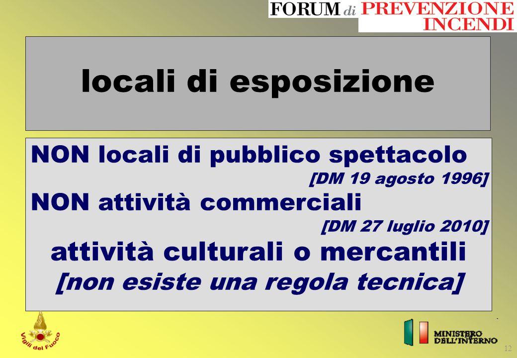 12 locali di esposizione NON locali di pubblico spettacolo [DM 19 agosto 1996] NON attività commerciali [DM 27 luglio 2010] attività culturali o merca