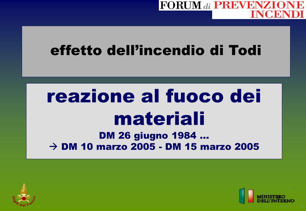 8 8 effetto dell'incendio di Todi reazione al fuoco dei materiali DM 26 giugno 1984 …  DM 10 marzo 2005 - DM 15 marzo 2005