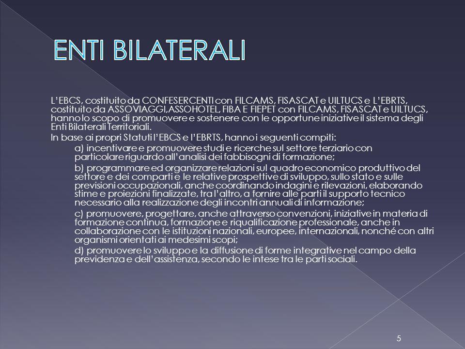 L'EBCS, costituito da CONFESERCENTI con FILCAMS, FISASCAT e UILTUCS e L'EBRTS, costituito da ASSOVIAGGI,ASSOHOTEL, FIBA E FIEPET con FILCAMS, FISASCAT e UILTUCS, hanno lo scopo di promuovere e sostenere con le opportune iniziative il sistema degli Enti Bilaterali Territoriali.