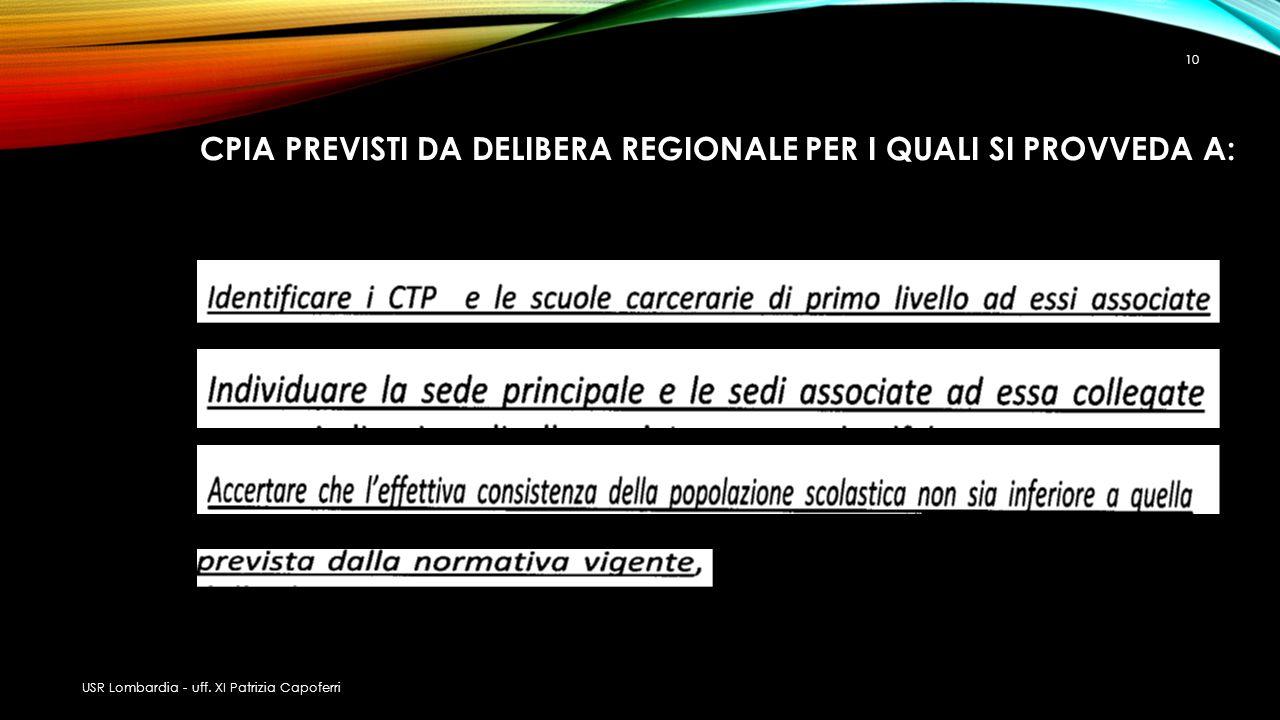 CPIA PREVISTI DA DELIBERA REGIONALE PER I QUALI SI PROVVEDA A: USR Lombardia - uff. XI Patrizia Capoferri 10