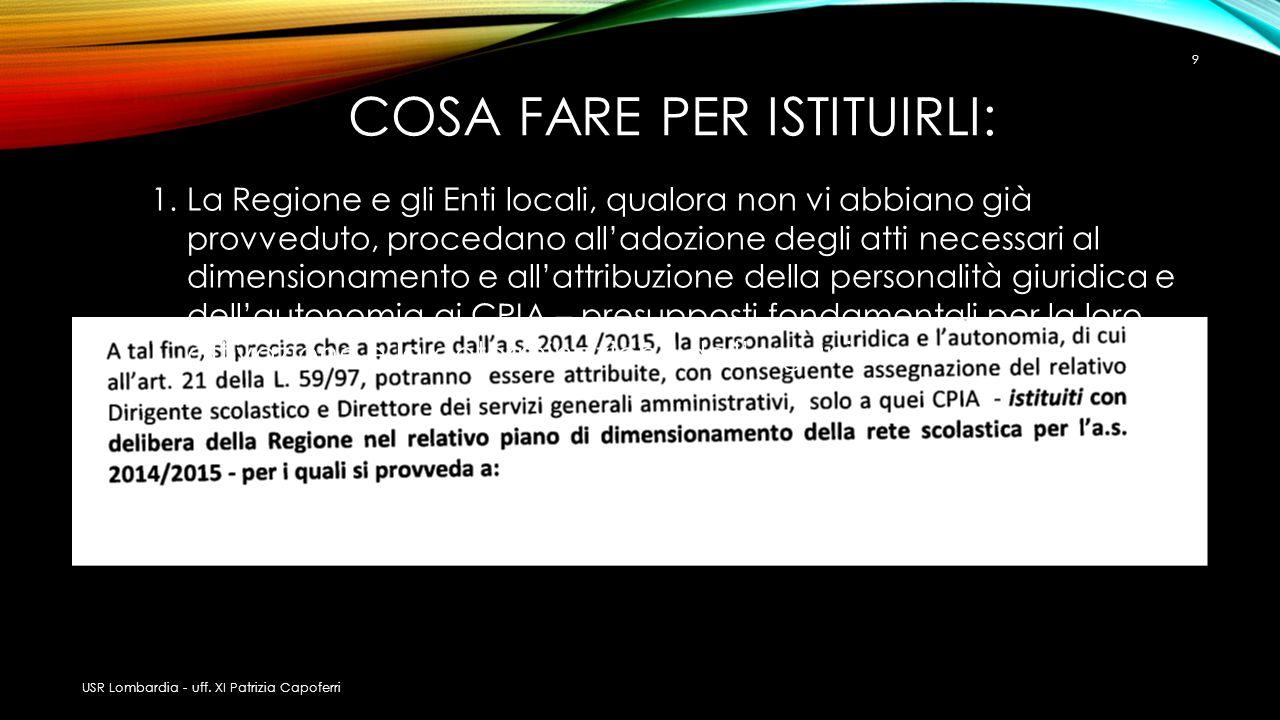CPIA PREVISTI DA DELIBERA REGIONALE PER I QUALI SI PROVVEDA A: USR Lombardia - uff.