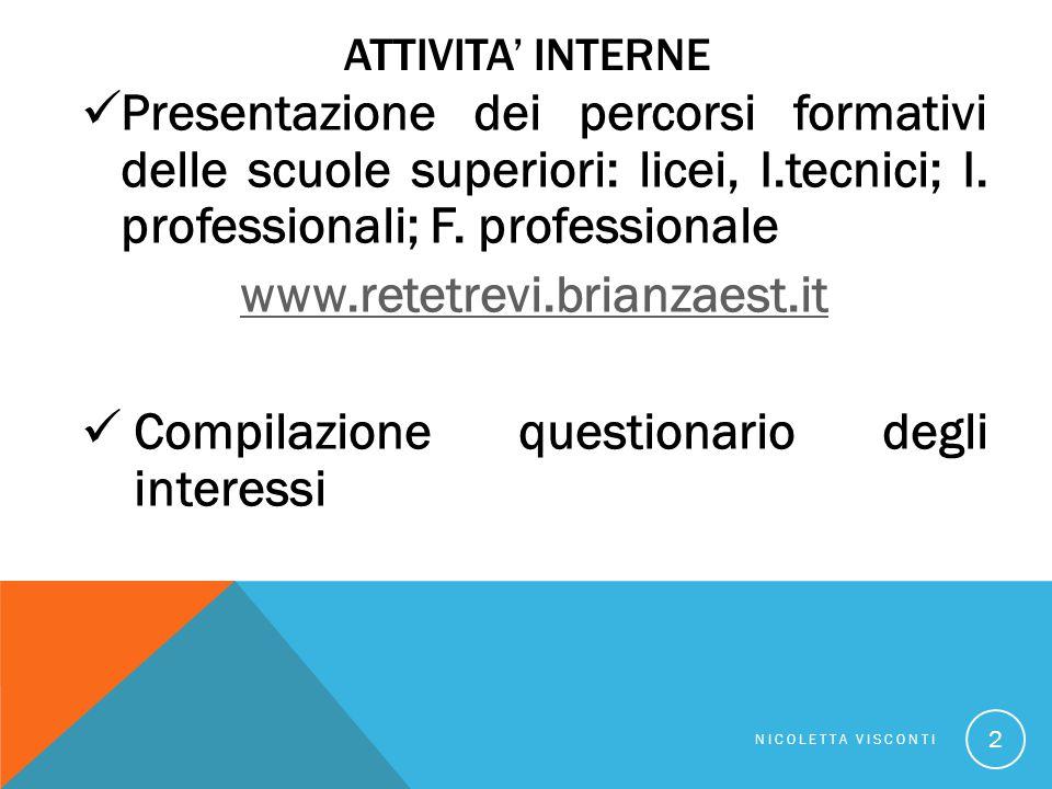 ATTIVITA' INTERNE Presentazione dei percorsi formativi delle scuole superiori: licei, I.tecnici; I.