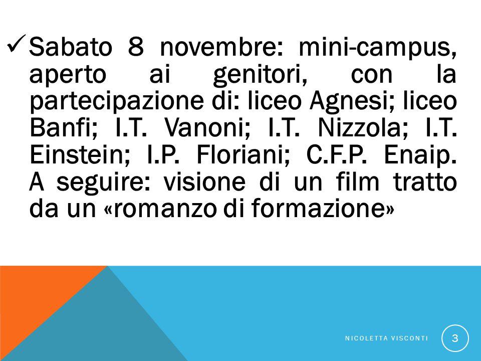 Sabato 8 novembre: mini-campus, aperto ai genitori, con la partecipazione di: liceo Agnesi; liceo Banfi; I.T.