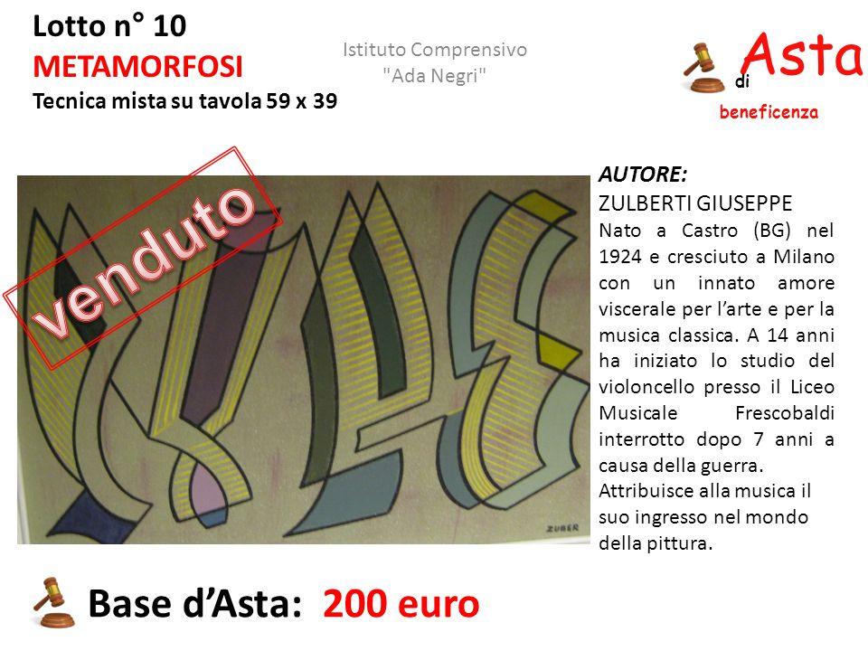 Asta beneficenza di Lotto n° 10 METAMORFOSI Tecnica mista su tavola 59 x 39 Base d'Asta: 200 euro AUTORE: ZULBERTI GIUSEPPE Nato a Castro (BG) nel 192