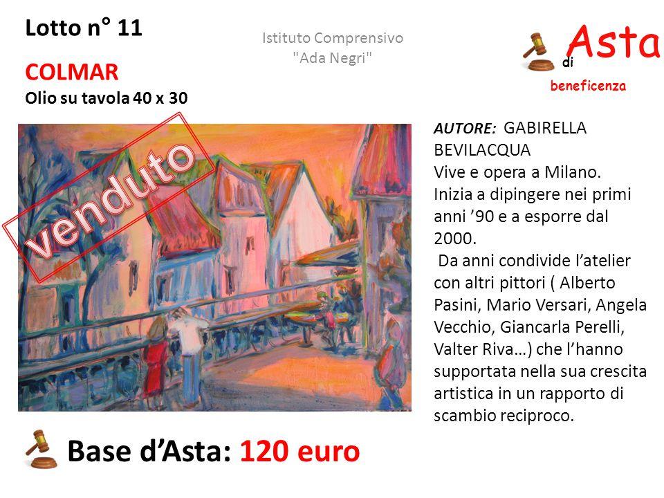 Asta beneficenza di Lotto n° 11 COLMAR Olio su tavola 40 x 30 AUTORE: GABIRELLA BEVILACQUA Vive e opera a Milano. Inizia a dipingere nei primi anni '9