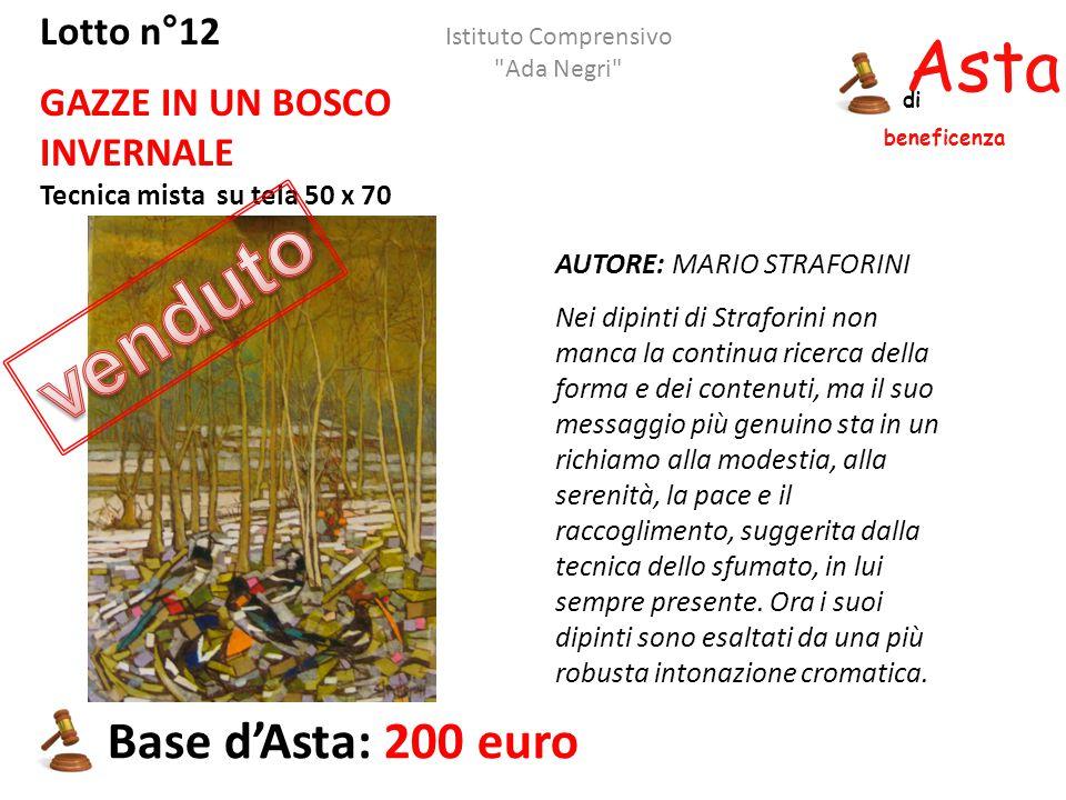 Asta beneficenza di Lotto n°12 GAZZE IN UN BOSCO INVERNALE Tecnica mista su tela 50 x 70 AUTORE: MARIO STRAFORINI Nei dipinti di Straforini non manca