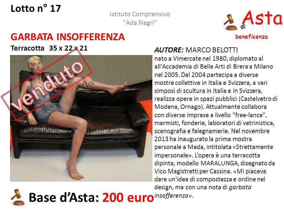 Asta beneficenza di Lotto n° 17 GARBATA INSOFFERENZA Terracotta 35 x 22 x 21 Base d'Asta: 200 euro AUTORE: MARCO BELOTTI nato a Vimercate nel 1980, di