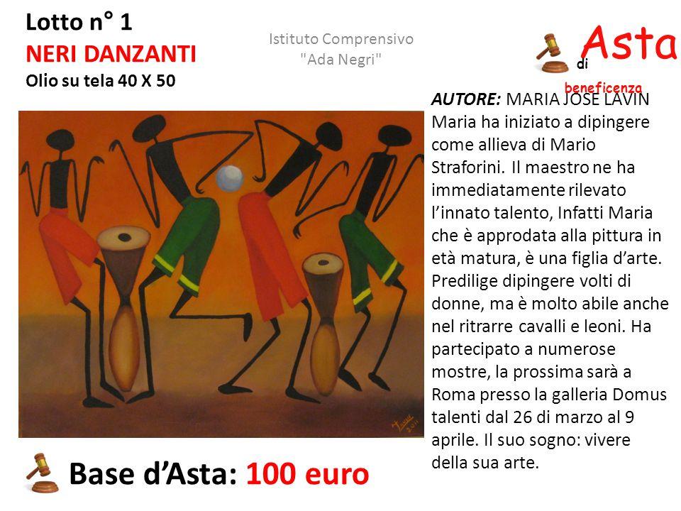 Asta beneficenza di Lotto n° 1 NERI DANZANTI Olio su tela 40 X 50 AUTORE: MARIA JOSE LAVIN Maria ha iniziato a dipingere come allieva di Mario Strafor