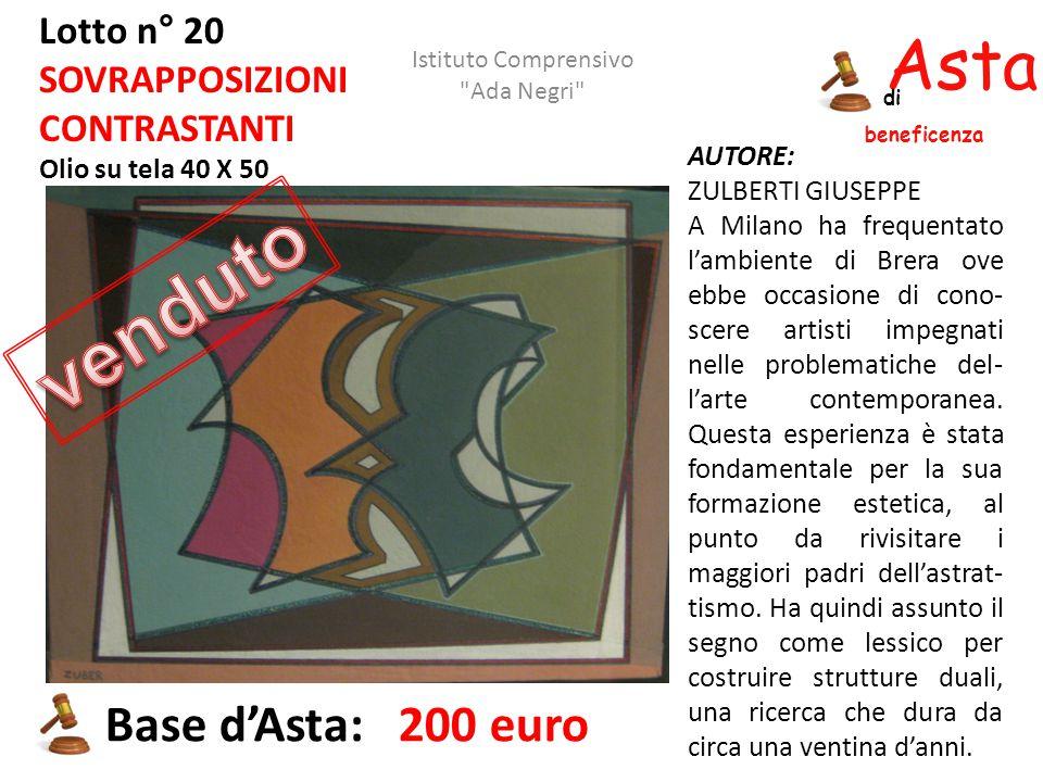 Asta beneficenza di Lotto n° 20 SOVRAPPOSIZIONI CONTRASTANTI Olio su tela 40 X 50 AUTORE: ZULBERTI GIUSEPPE A Milano ha frequentato l'ambiente di Brer