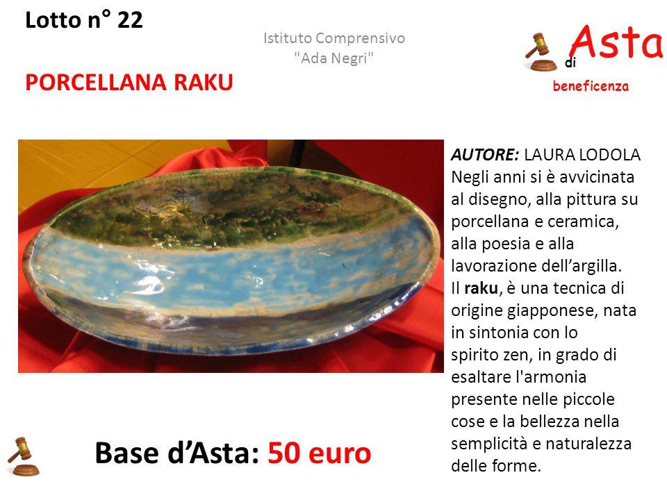 Asta beneficenza di Lotto n° 22 PORCELLANA RAKU AUTORE: LAURA LODOLA Negli anni si è avvicinata al disegno, alla pittura su porcellana e ceramica, all