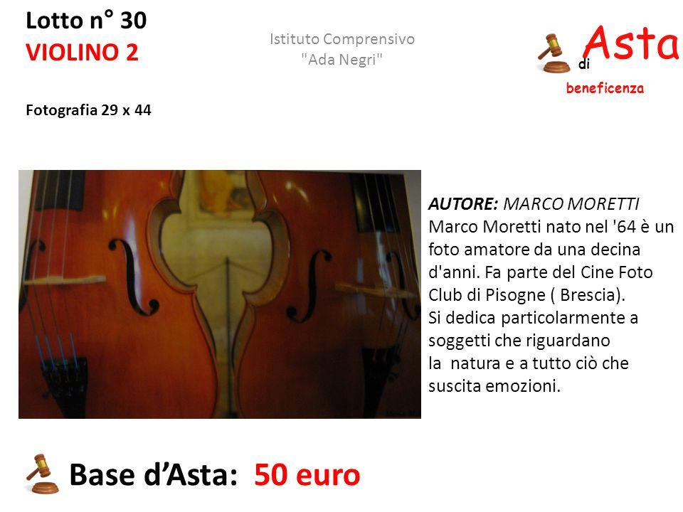 Asta beneficenza di Lotto n° 30 VIOLINO 2 Fotografia 29 x 44 AUTORE: MARCO MORETTI Marco Moretti nato nel '64 è un foto amatore da una decina d'anni.