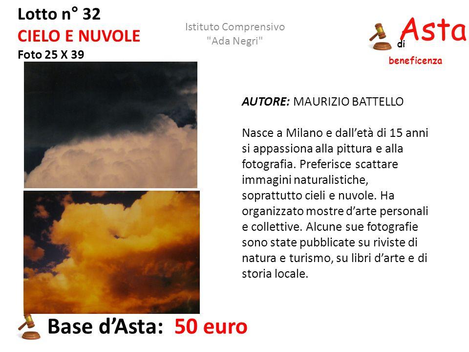 Asta beneficenza di Lotto n° 32 CIELO E NUVOLE Foto 25 X 39 AUTORE: MAURIZIO BATTELLO Nasce a Milano e dall'età di 15 anni si appassiona alla pittura