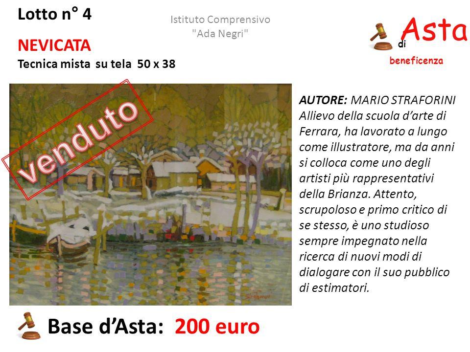 Asta beneficenza di Lotto n° 4 NEVICATA Tecnica mista su tela 50 x 38 AUTORE: MARIO STRAFORINI Allievo della scuola d'arte di Ferrara, ha lavorato a l