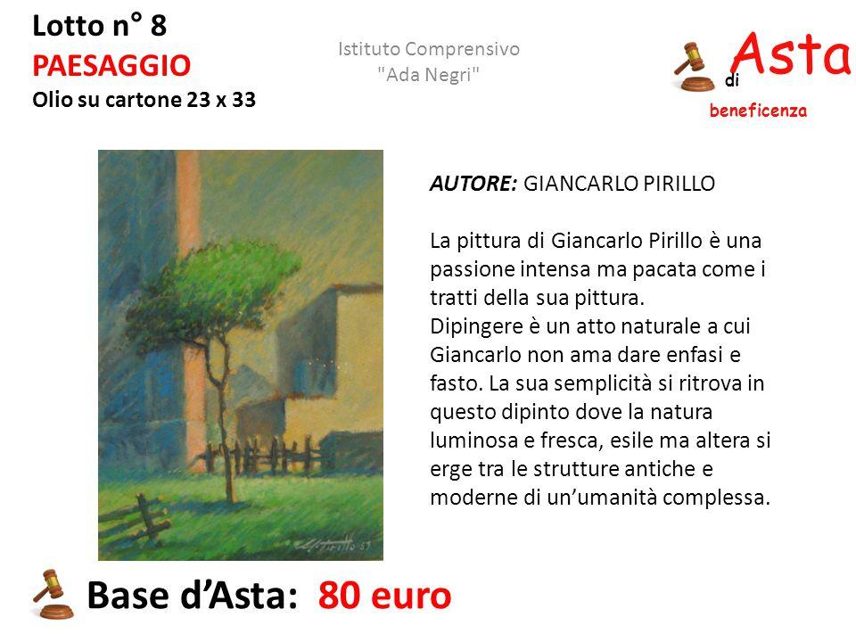 Asta beneficenza di Lotto n° 8 PAESAGGIO Olio su cartone 23 x 33 AUTORE: GIANCARLO PIRILLO La pittura di Giancarlo Pirillo è una passione intensa ma p