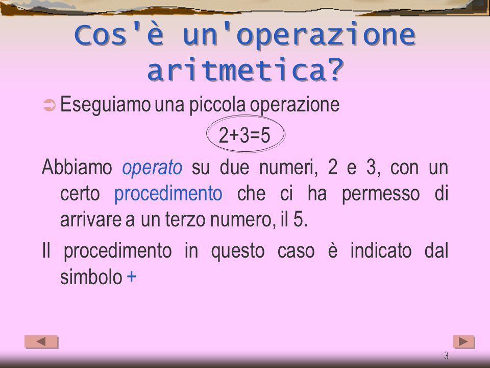 2 Impareremo a …  Conoscere e comprendere il concetto di operazione aritmetica  Conoscere e comprendere le operazioni di addizione e sottrazione  C