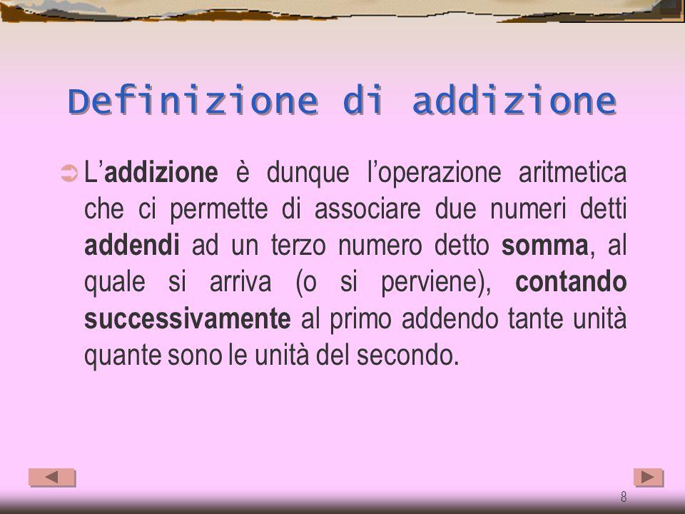 7 Procedimento  Quale procedimento ci permette di ottenere le somme, cioè i risultati delle addizioni?  Si tratta di porsi, nel primo esempio, la do