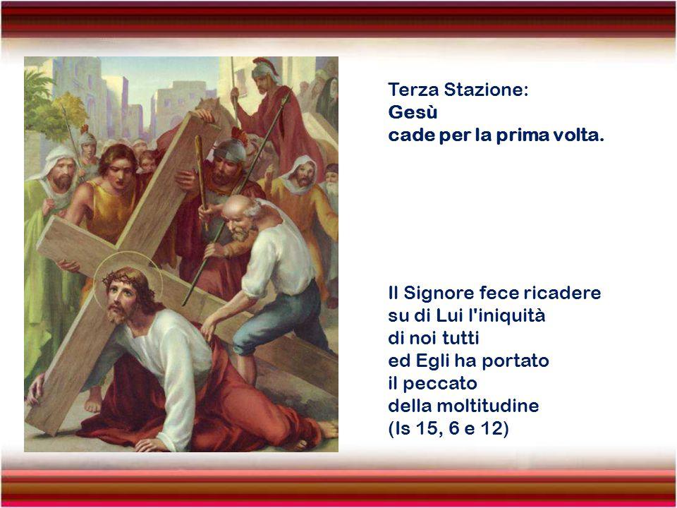 Seconda Stazione: Gesù è caricato della Croce. Presero dunque Gesù e lo condussero via. Ed Egli, portando la Croce, uscì verso il luogo chiamato Calva
