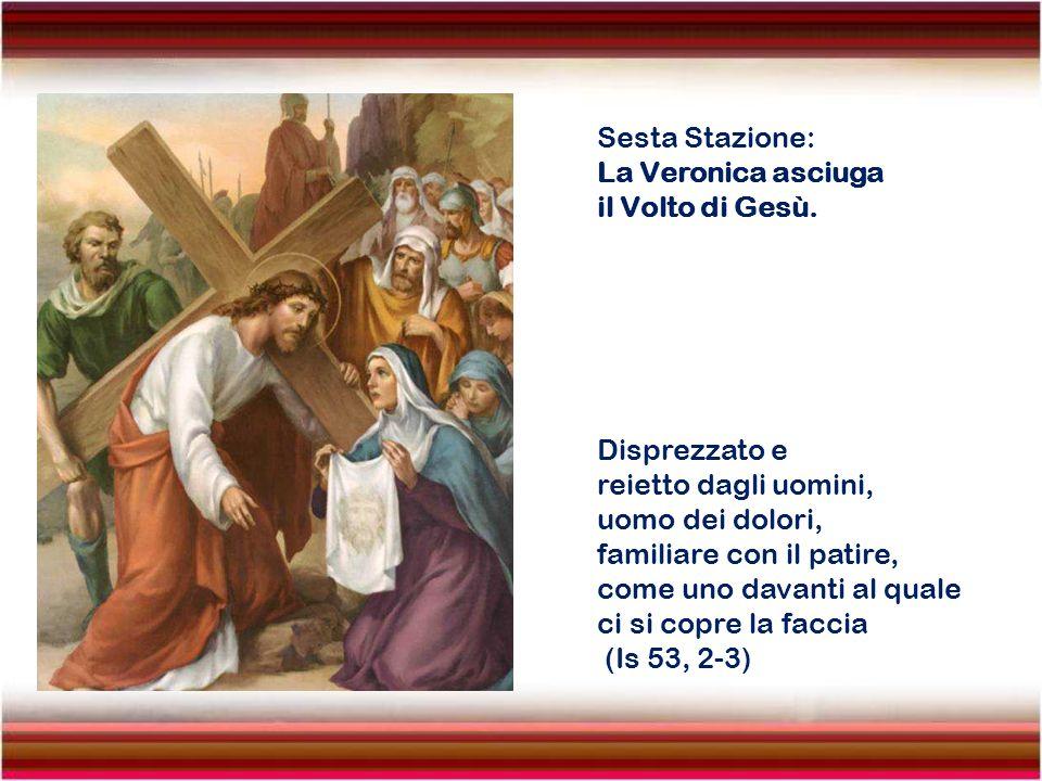 Quinta Stazione: Gesù aiutato da Simone di Cirene. Nell'uscire trovarono un uomo di Cirene, chiamato Simone, e i soldati lo costrinsero a portare la C