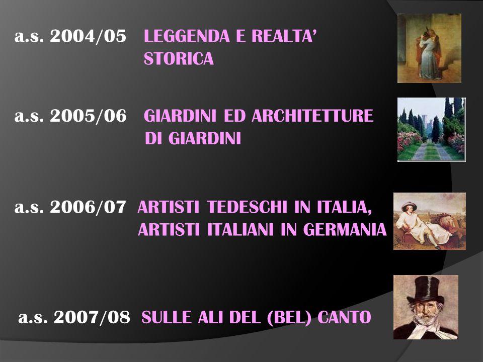 a.s. 2000/01 ANTICHI MESTIERI SCOMPARSI a.s. 2001/02 CUCINA ITALIANA E TEDESCA a.s.