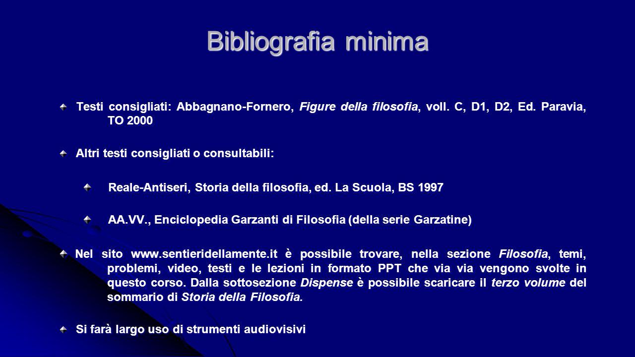 Bibliografia minima Testi consigliati: Abbagnano-Fornero, Figure della filosofia, voll. C, D1, D2, Ed. Paravia, TO 2000 Testi consigliati: Abbagnano-F