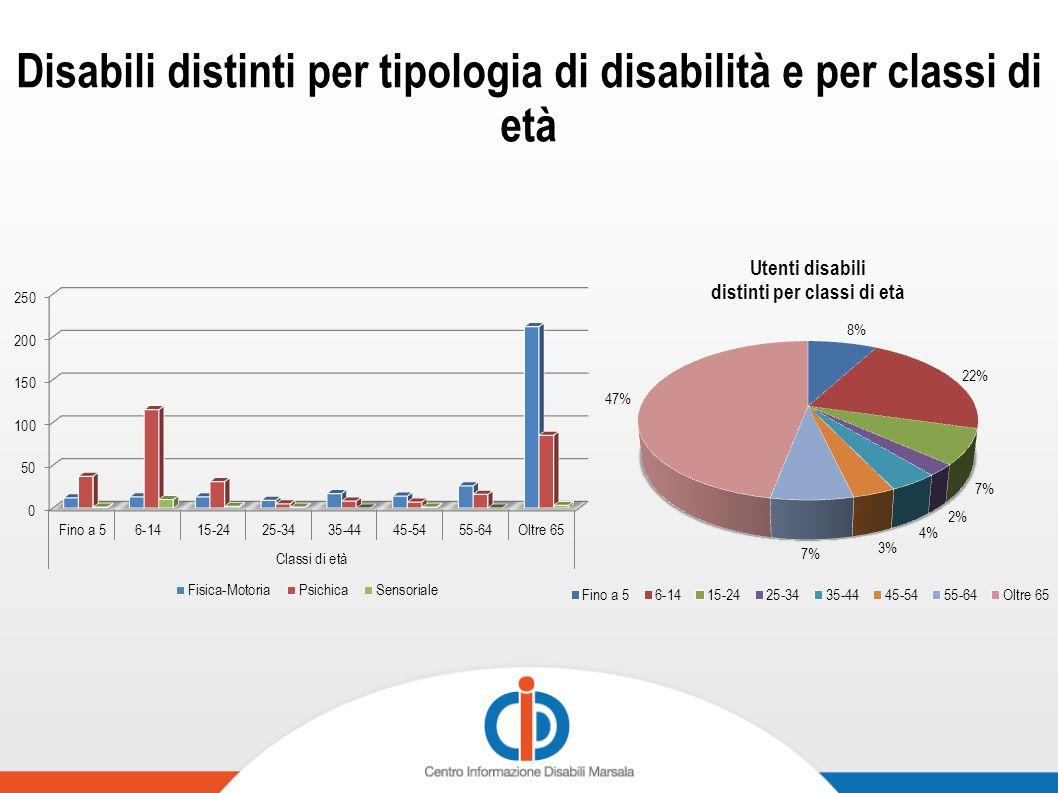 Disabili distinti per tipologia di disabilità e per classi di età