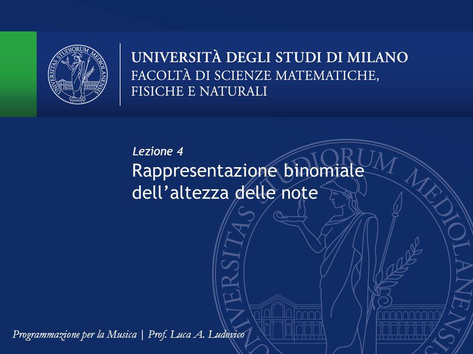 Rappresentazione binomiale dell'altezza delle note Lezione 4 Programmazione per la Musica | Prof. Luca A. Ludovico
