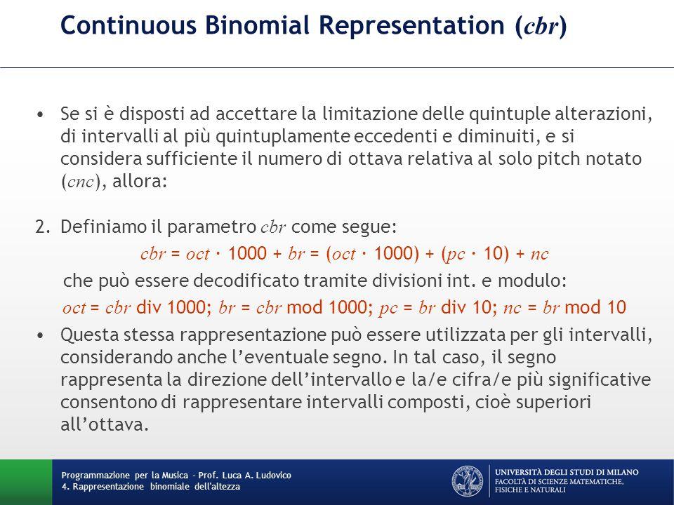 Continuous Binomial Representation ( cbr ) Se si è disposti ad accettare la limitazione delle quintuple alterazioni, di intervalli al più quintuplamen