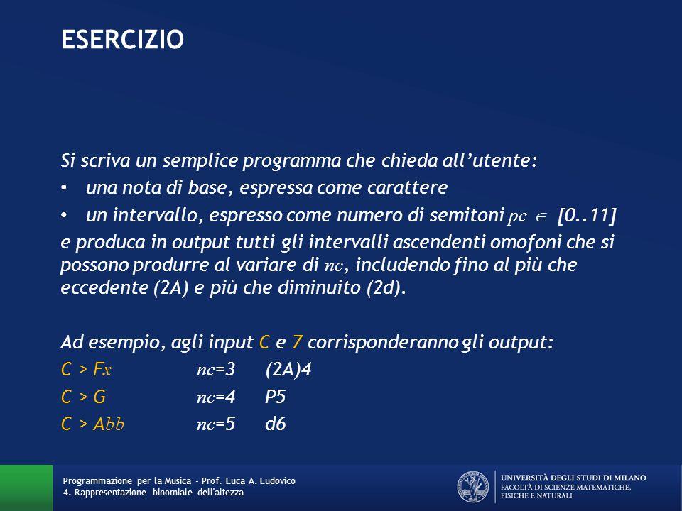 ESERCIZIO Si scriva un semplice programma che chieda all'utente: una nota di base, espressa come carattere un intervallo, espresso come numero di semi