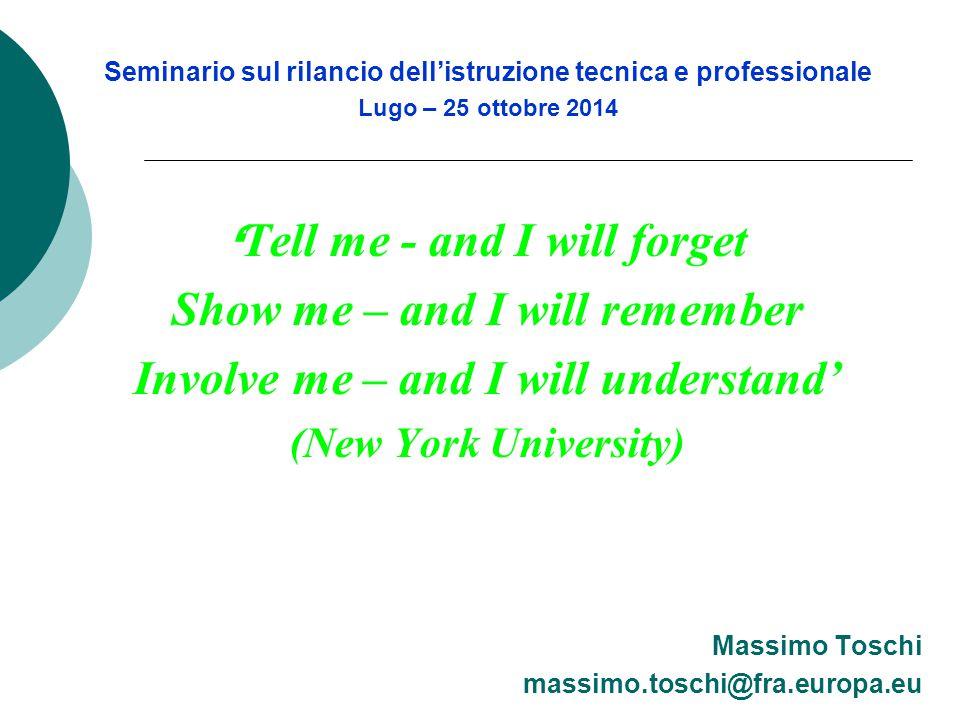 Seminario sul rilancio dell'istruzione tecnica e professionale Lugo – 25 ottobre 2014 ' Tell me - and I will forget Show me – and I will remember Invo