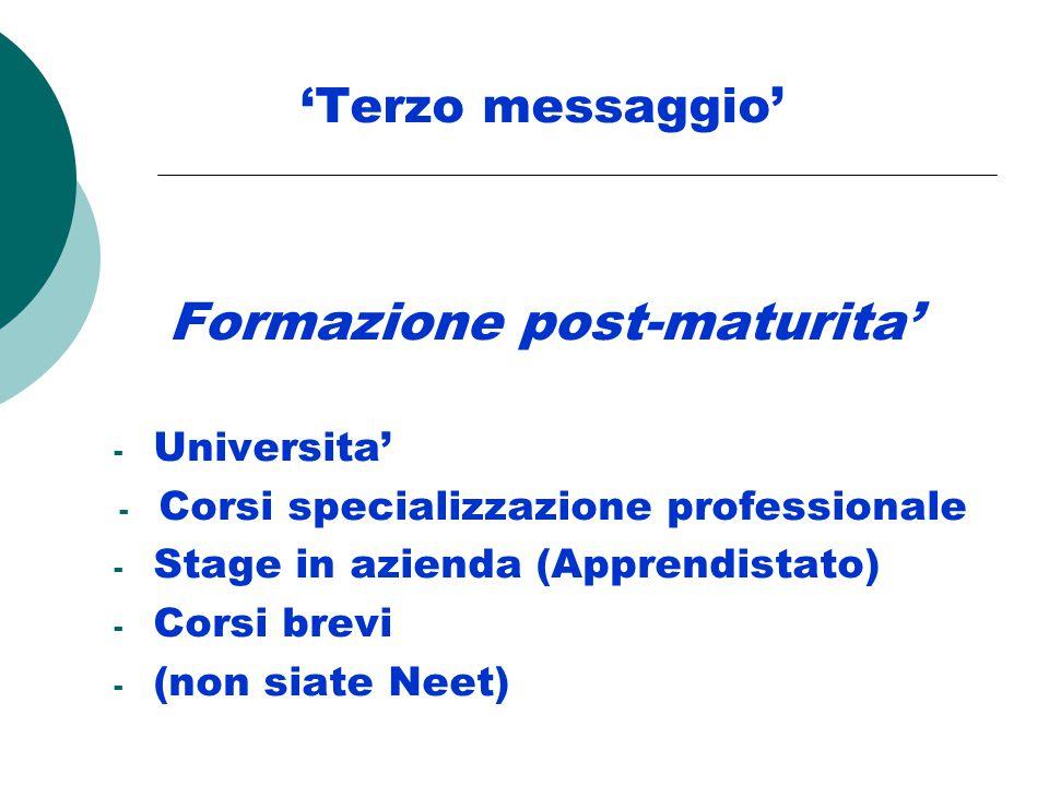 'Terzo messaggio' Formazione post-maturita' - Universita' - Corsi specializzazione professionale - Stage in azienda (Apprendistato) - Corsi brevi - (non siate Neet)