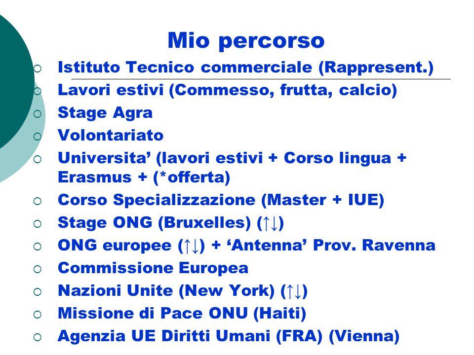 Mio percorso  Istituto Tecnico commerciale (Rappresent.)  Lavori estivi (Commesso, frutta, calcio)  Stage Agra  Volontariato  Universita' (lavori estivi + Corso lingua + Erasmus + (*offerta)  Corso Specializzazione (Master + IUE)  Stage ONG (Bruxelles) (↑↓)  ONG europee (↑↓) + 'Antenna' Prov.
