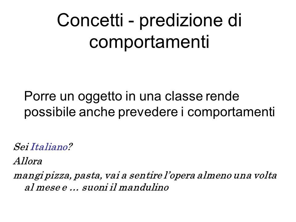 Concetti - predizione di comportamenti Porre un oggetto in una classe rende possibile anche prevedere i comportamenti Sei Italiano.