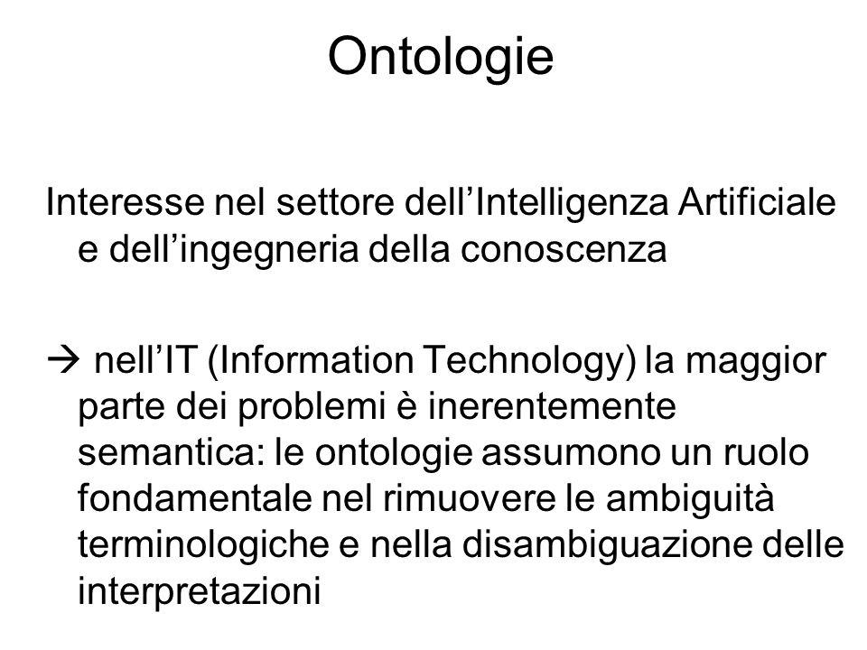 Ontologie Interesse nel settore dell'Intelligenza Artificiale e dell'ingegneria della conoscenza  nell'IT (Information Technology) la maggior parte dei problemi è inerentemente semantica: le ontologie assumono un ruolo fondamentale nel rimuovere le ambiguità terminologiche e nella disambiguazione delle interpretazioni