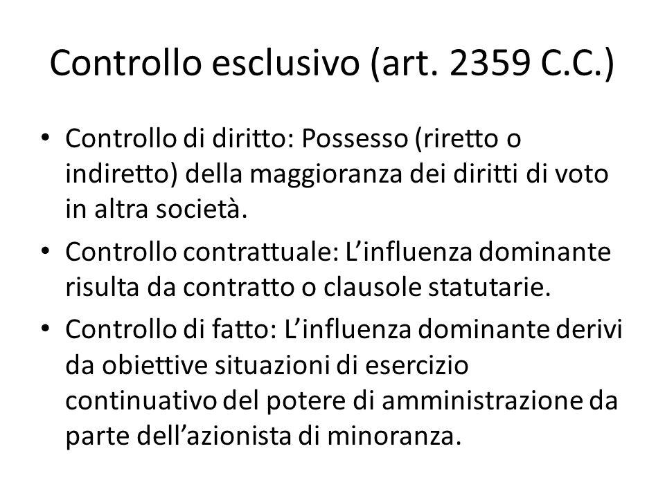 Controllo esclusivo (art.