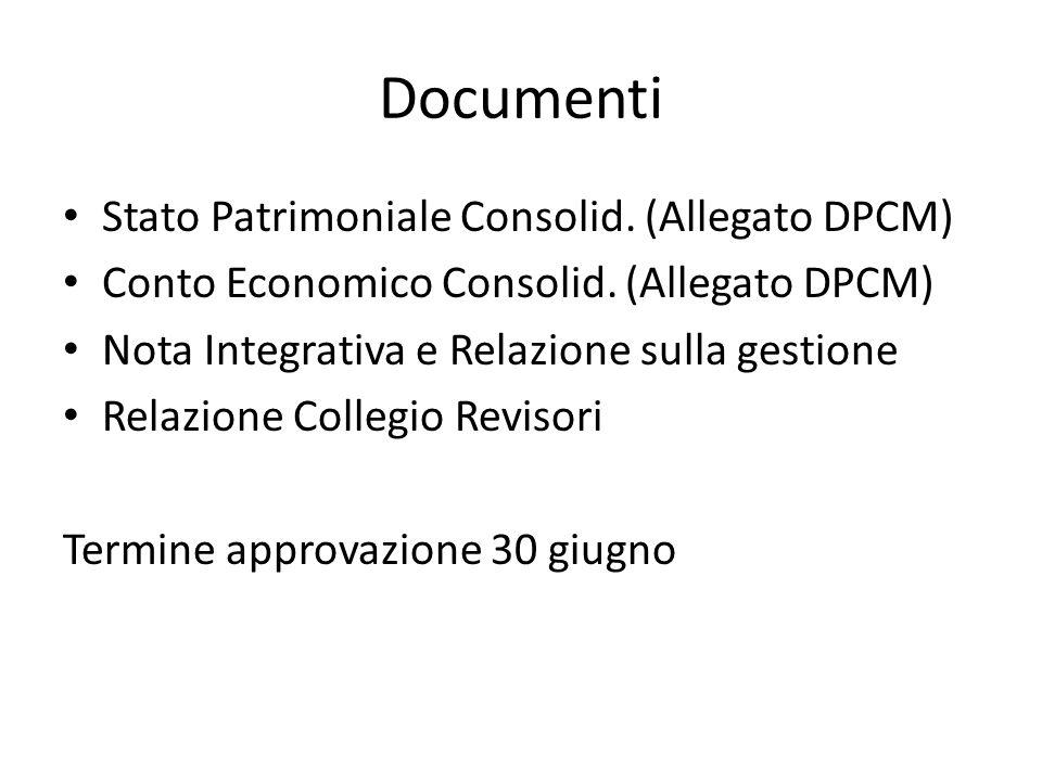 Documenti Stato Patrimoniale Consolid. (Allegato DPCM) Conto Economico Consolid.