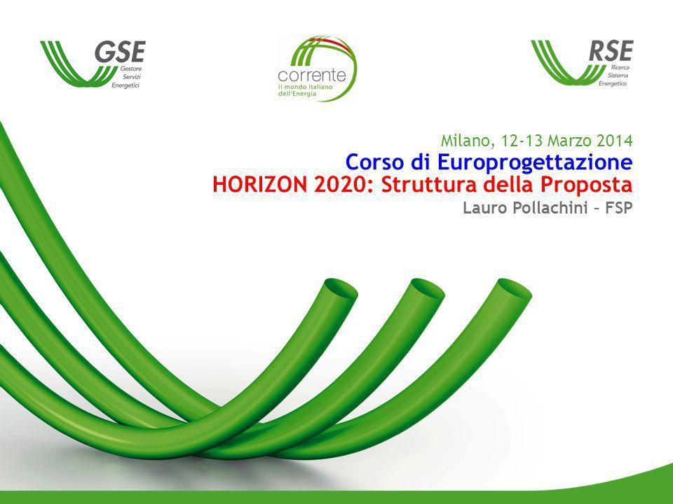 Milano, 12-13 Marzo 2014 Corso di Europrogettazione HORIZON 2020: Struttura della Proposta Lauro Pollachini – FSP