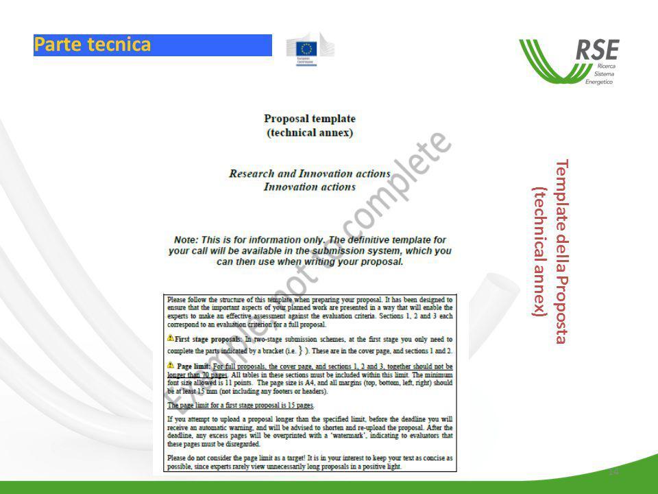 14 Template della Proposta (technical annex) Parte tecnica