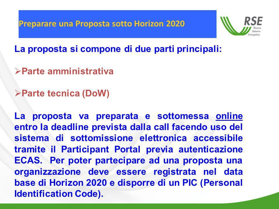Preparare una Proposta sotto Horizon 2020 La proposta si compone di due parti principali:  Parte amministrativa  Parte tecnica (DoW) La proposta va