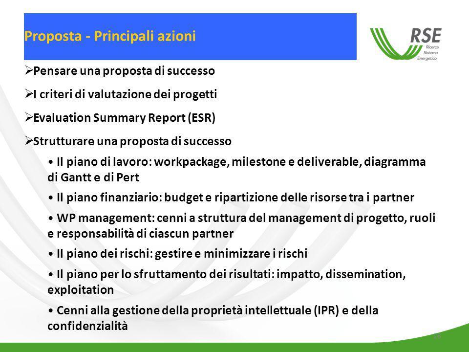 28  Pensare una proposta di successo  I criteri di valutazione dei progetti  Evaluation Summary Report (ESR)  Strutturare una proposta di successo