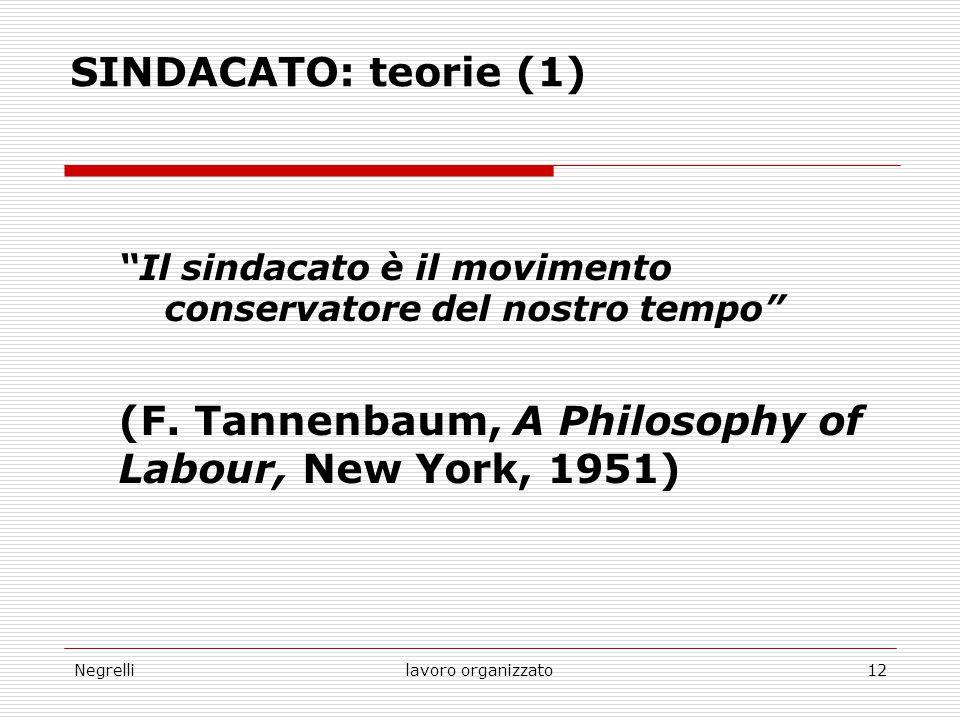"""Negrellilavoro organizzato12 SINDACATO: teorie (1) """"Il sindacato è il movimento conservatore del nostro tempo"""" (F. Tannenbaum, A Philosophy of Labour,"""