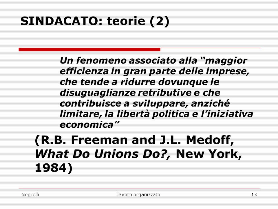 """Negrellilavoro organizzato13 SINDACATO: teorie (2) Un fenomeno associato alla """"maggior efficienza in gran parte delle imprese, che tende a ridurre dov"""
