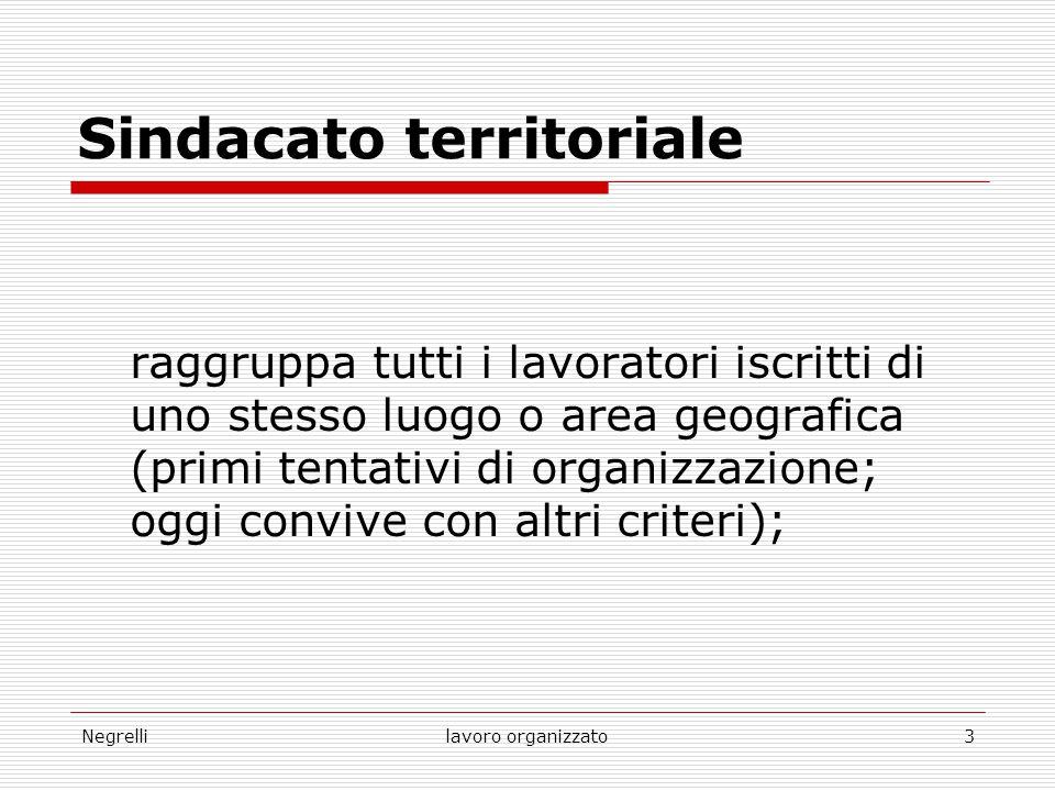 Negrellilavoro organizzato3 Sindacato territoriale raggruppa tutti i lavoratori iscritti di uno stesso luogo o area geografica (primi tentativi di org
