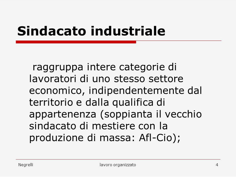 Negrellilavoro organizzato4 Sindacato industriale raggruppa intere categorie di lavoratori di uno stesso settore economico, indipendentemente dal terr