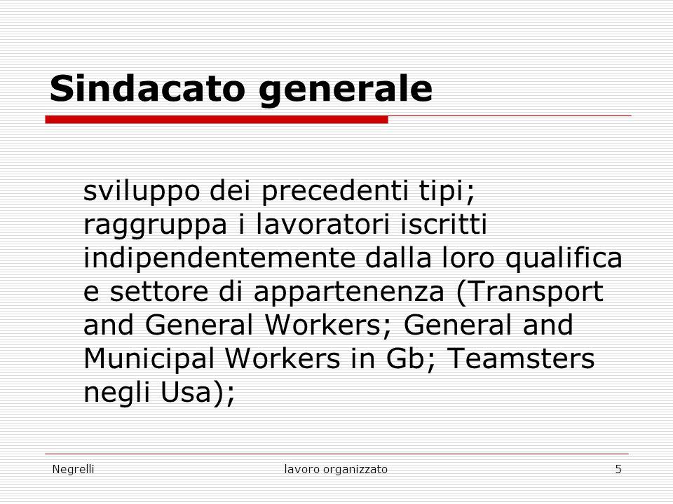 Negrellilavoro organizzato5 Sindacato generale sviluppo dei precedenti tipi; raggruppa i lavoratori iscritti indipendentemente dalla loro qualifica e
