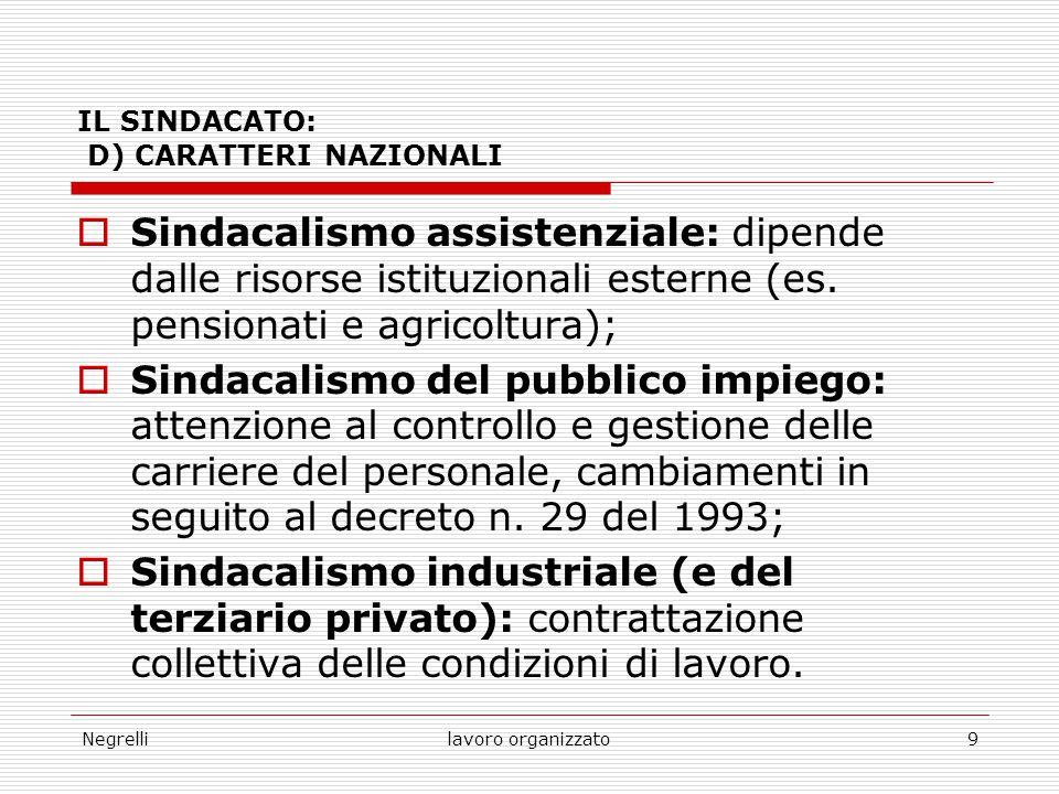 Negrellilavoro organizzato9 IL SINDACATO: D) CARATTERI NAZIONALI  Sindacalismo assistenziale: dipende dalle risorse istituzionali esterne (es. pensio