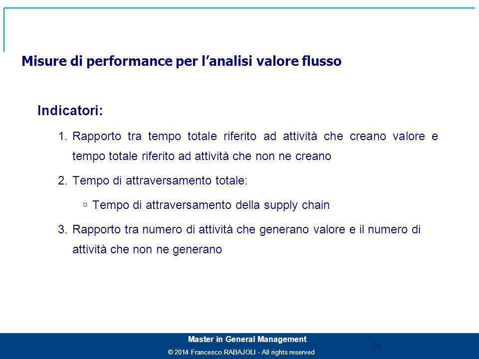© 2014 Francesco RABAJOLI - All rights reserved Master in General Management Misure di performance per l'analisi valore flusso Indicatori: 1.Rapporto