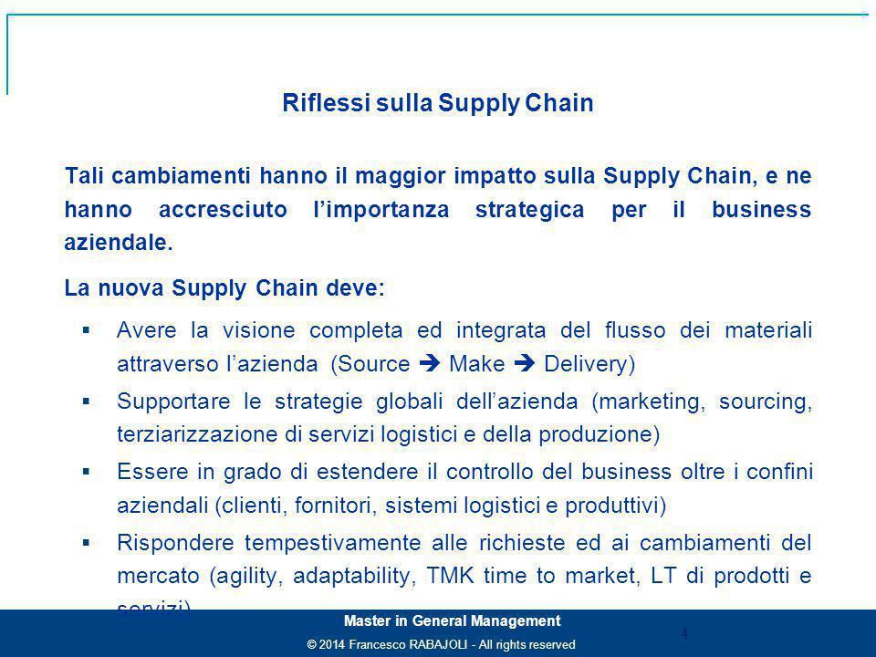 © 2014 Francesco RABAJOLI - All rights reserved Master in General Management Tali cambiamenti hanno il maggior impatto sulla Supply Chain, e ne hanno accresciuto l'importanza strategica per il business aziendale.